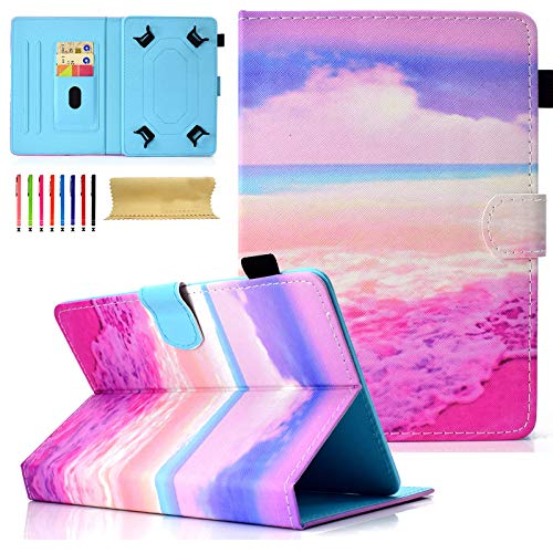 Cookk Universal Slim Protective Case Cover for iPad Mini 4/3/2/1, Galaxy Tab 8.0 Inch Case and All 7.5-8.5 inch Tablet, Pink Wave