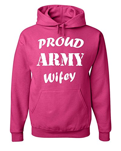 Proud Army Wifey Hoodie Wife Husband Duty Military Soldier Hero Sweatshirt Hot Pink L