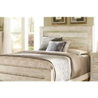 Progressive Furniture Willow 6/6 Slat Headboard, King, Distressed White