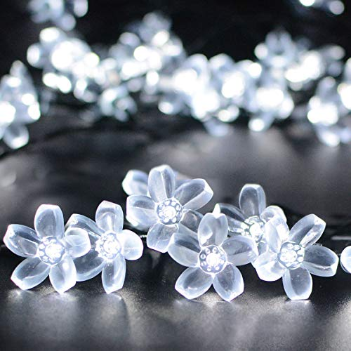 VMANOO Solar Outdoor Christmas String Lights 21ft 50 LED Fairy Flower Blossom Decorative Light for Indoor Garden Patio Party Xmas Tree Decorations 2-Pack (White)