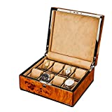 Eglaf Elegant 8 Piece Wood Watch Box Display Case and Storage Organizer Jewelry Box