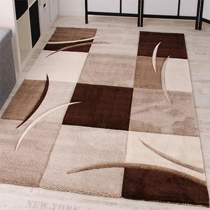 Paco Home Tappeto Di Design Orlo Modello A Quadri Nei Colori Marrone ...