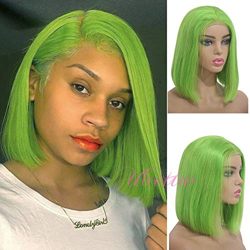 Short Bob Wig Lime Green Human Hair Brazilian Virgin Hair Lace Front Pre Plucked with Baby Hair Glueless Silk Straight 10
