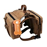 Lalawow Dog Pack Harness Canvas Saddle Bag For Outdoor...