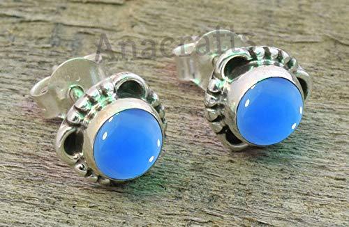 Blue Chalcedony Post Stud Earrings - 925 Sterling Silver Blue Chalcedony Stone Gemstone Stud Earrings For Girls Women Jewellery