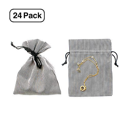 Linen and Bags Cotton Pinstripe Favor Bags (Black, 5x7) -