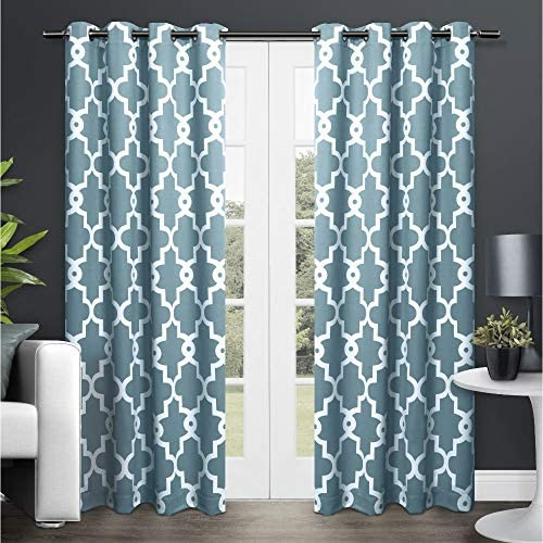 Exclusive Home Curtains EH8089-02 2-108G Ironwork Sateen Woven Blackout Grommet Top Curtain Panel Pair