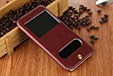 Excelsior Premium Leather Window View Flip Cover Case For Apple iPhone 8 Plus (Brown)