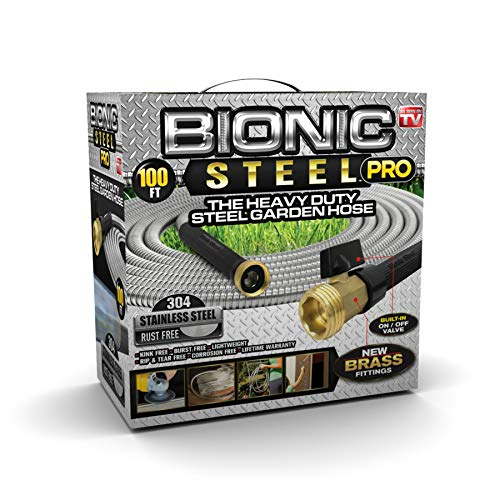 Bionic Steel PRO Garden Hose - 304 Stainless Steel Metal 100 Foot Garden Hose - Heavy Duty Lightweight, Kink-Free, and Stronger Than Ever with Brass Fittings and On/Off Valve - 2019 Model