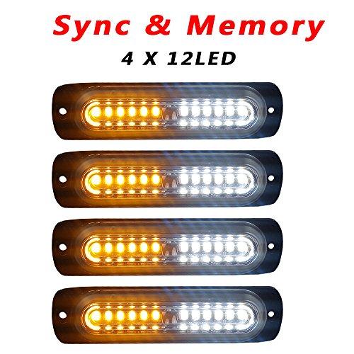 Led Grille - 4pcs Ultra Slim 12-LED Surface Mount Grille Flashing Strobe Lights for Truck Car Vehicle Mini LED Light-Head Emergency Beacon Hazard Warning lights 12-24V (Amber/White)