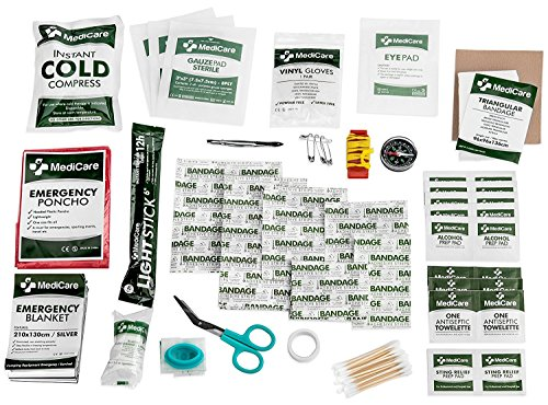 MediCare Deluxe First Aid Kit (115 Items) The Most Essential First Aid Supplies for Home, Travel, Camping, Office and The - Caravan Uk Sizes