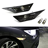 iJDMTOY (2) Left & Right JDM Clear Side Marker Lamps For 2016-up 10th Gen Honda Civic Sedan/Coupe (Smoked Lens with Amber LED Bulbs)