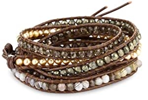 Chan Luu Brown Semi Precious Stones with Fresh Water Pearls on Leather Bracelet
