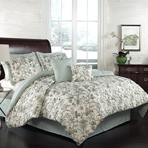 Traditions by Waverly 15224BEDDQUEMNR Felicite 88-Inch by 88-Inch 6-Piece Queen Comforter Collection, Mineral