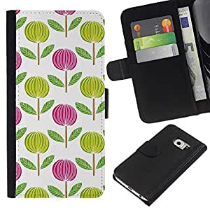 KingStore / Leather Etui en cuir / Samsung Galaxy S6 EDGE / Rose Blanc Vert Wallpaper