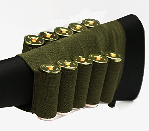 OD Green 10 Round Shotgun Ammo Shot Shell Cartridge Hunting Stock Buttstock Slip Over Carrier Holder Fits 12 / 20 GA Gauge Ambidextrous Winchester 1200/1300/Super X SXP X3