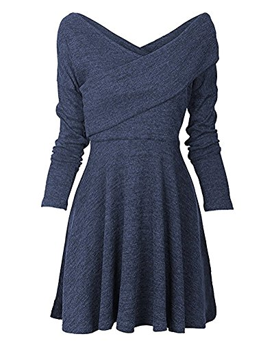 Lunghe Maglioni Vestiti Maglia Vestiti a Eleganti Inverno Minetom Tunica Maniche V Donna Blu collo Autunno Abito gzwqaaP8