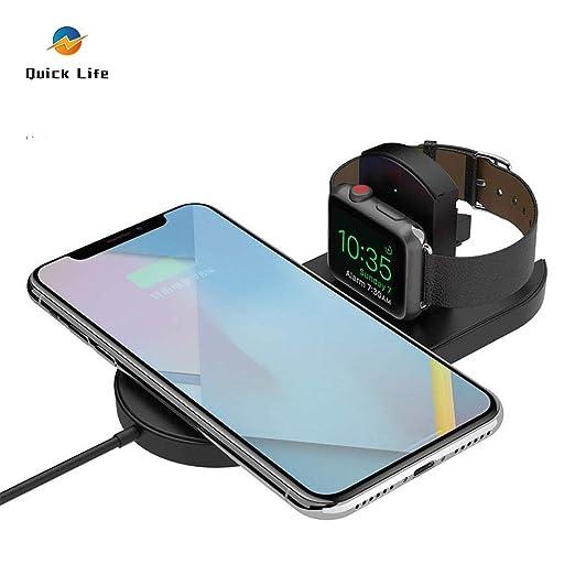 Quick Life 2 en 1 Qi Cargador inalámbrico para iPhone XS/MAX/XR ...