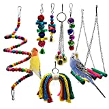SODIAL Bird Parrot Toys, 7 Packs Bird Swing Chewing Hanging Perches with Bells for Pet Parrot Lovebird Howl Budgie Cockatiels Macaws Finches and Other Small Medium Lorikeets Birds