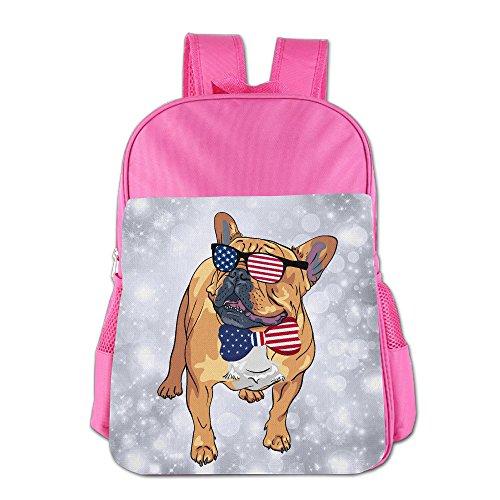 French Bulldog USA Flag Sunglasses Tie Girls Boys School Backpack Bag School Bags Pink For Teen