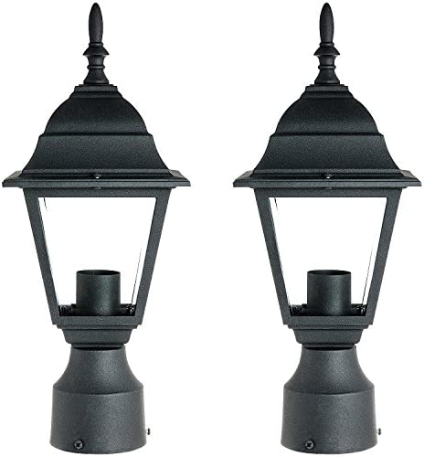 Sunlite ODI1150 15-Inch Decorative Light Post Outdoor Fixture, Black Finish with Clear Glass 2 Pack