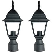 Sunlite ODI1150 15-Inch Decorative Light Post Outdoor Fixture, Black Finish with Clear Glass (2 Pack)