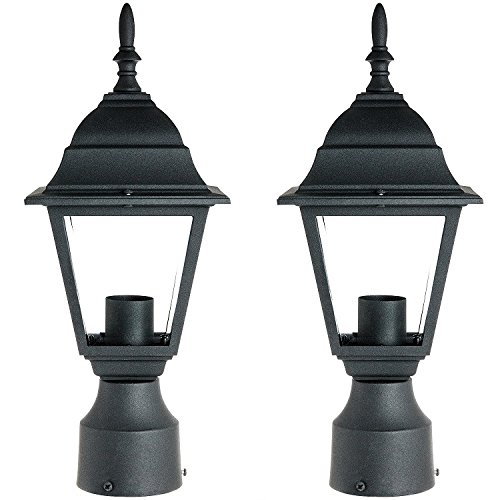 Sunlite ODI1150 15-Inch Decorative Light Post Outdoor Fixture, Black Finish with Clear Glass (2 Pack) by Sunlite