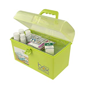 Pekky Plastic Small Handle Storage Box for Art Craft and Cosmetic (Green)