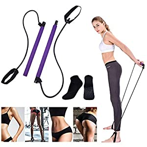 Well-Being-Matters 51cW6Dhp0yL._SS300_ Portable Pilates Resistance Stick Kit with Workout Socks Adjustable Exercise Stretch Band Yoga Toning Bar with Foot Loop…