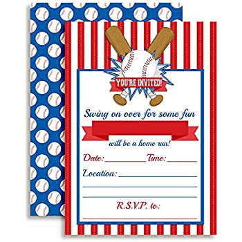 amazon com baseball party invitations 20 count with envelopes