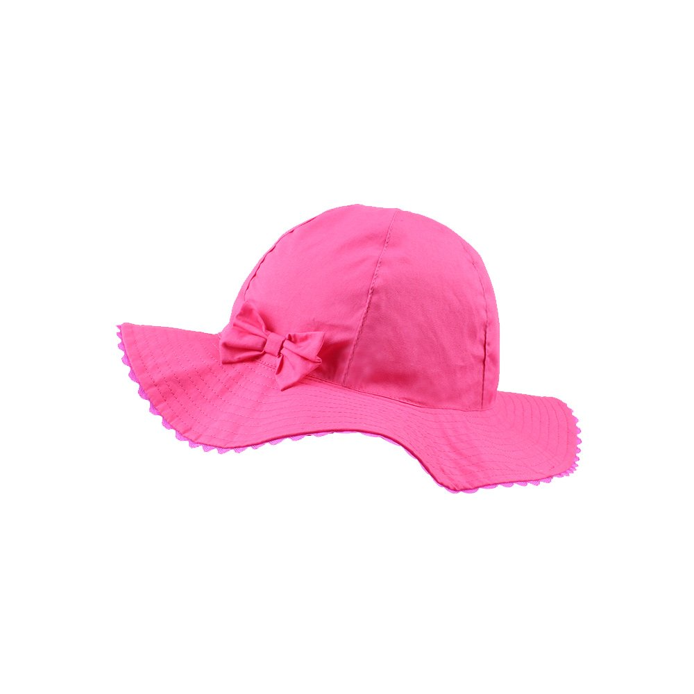 JANGANNSA Baby Girls Sun Hat Infant Uv Protective Cap Kids Wide Wavy Brim Bucket Hat Spring Summer (Rose red) by JANGANNSA