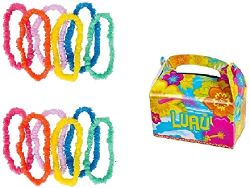 Novelty Treasures Colorful Pool or Beach Party Set of 12 Leis and 12 Luau Treat Boxes