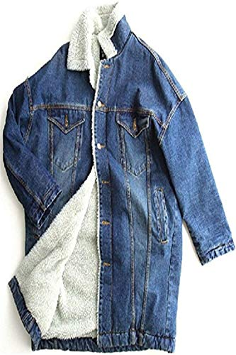 Cappotti Manica Giovane Giaccone Moda Jacket Outerwear Donna Outwear Confortevole Giacche Hot Jeans Lunga Blu Women Invernali Baggy Addensare Eleganti Ra8n7g