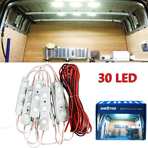 AMBOTHER 30 LED White Interior Lights Lamp Kit For LWB Van Trailer Lorries Sprinter Ducato Transit VW with LED Project Lens (10 Modules) 2 Light Avalon Bath
