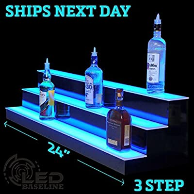 "24"" 3 Step Lighted Liquor Bottle Display Shelf with LED Color Changing Lights"