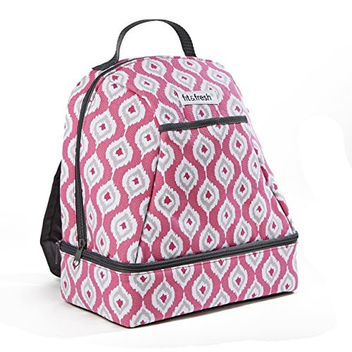 Fit & Fresh Kiera Small Backpack, Lunch Bag for Women / Girls, Insulated Daypack for Travel, Hiking, Commuting, Pink Teardrop Ikat