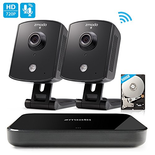 Zmodo Replay 720p 4CH NVR 2 Indoor Wireless Two-Way Audio Camera Home Security System Remote Playback 500GB Hard Drive by Zmodo
