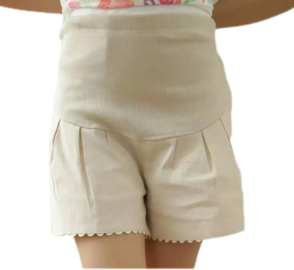 Pregnant Women Casual Shorts Adjustable Waistband Belly Linen Shorts