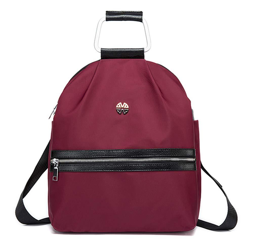 オックスフォード布のバッグの女性の大容量のコンピュータバッグのナイロン防水盗難防止レジャー旅行中年のバックパック  red B07LD3VNWS