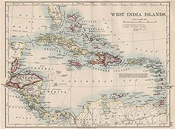 Amazoncom WEST INDIA ISLANDS Caribbean Lucayas Caribbee Cuba - Vintage map of cuba