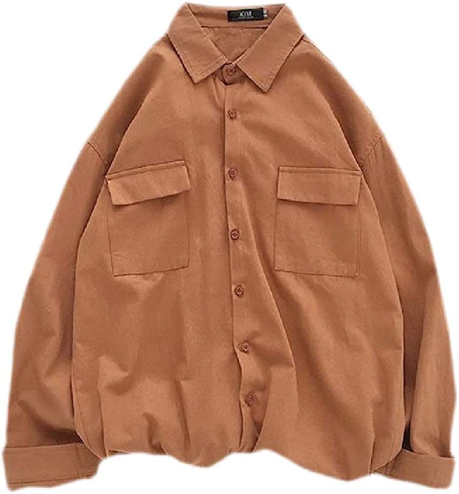 Wofupowga Mens Pocket Drop Shoulder Sleeve Lapel Neck Button Down Shirts
