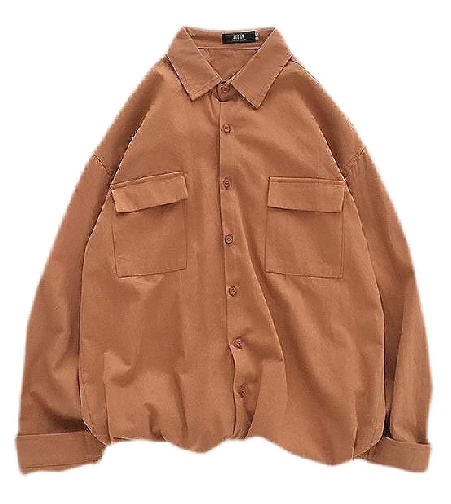 Lutratocro Men Long Sleeve Pocket Lapel Neck Button Down Shirts