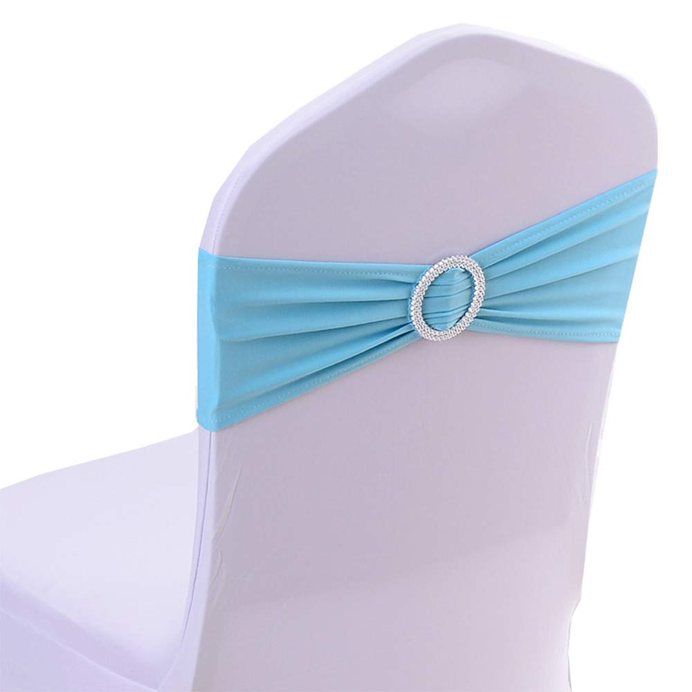 iEventStar Spandex Chair Sash Cover Stretch Band Buckle Slider Sashes Bow Hotel Wedding Banquet Decoration (50, Aqua)