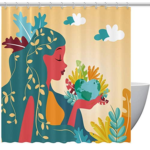 Lady Heart Shaped Globe Home Textile Bathroom Decoration Cozy Lovely Decor Pleasing Peculiar Design Shower Curtain with Hooks, 60