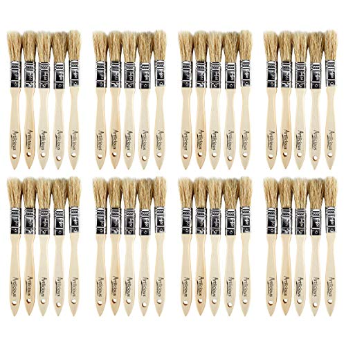 Artlicious – Pure Hog Bristle Chip Paint Brushes Super Pack (1/2 inch – 40 Pack)