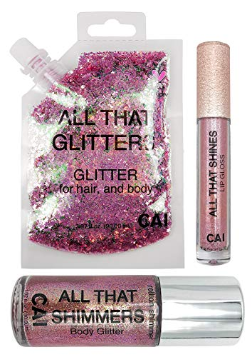 - Glitter Kit Body, Hair, Face, Lip Gloss Holographic Cosmetic Grade Glamour, Rose Gold Pink