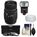 Sigma 70-300mm f/4-5.6 DG Motorized Macro Zoom Lens with Flash + 3 Filters + Diffuser Kit for Nikon Digital SLR Cameras