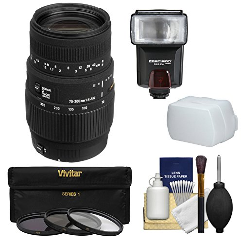 Sigma 70-300mm f/4-5.6 DG Motorized Macro Zoom Lens with Flash + 3 Filters + Diffuser Kit for Nikon Digital SLR Cameras by Sigma