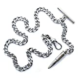 WATCHVSHOP Albert Chain Silver Tone Fine Polish Pocket Watch Chain Vest Chain with Bullet Design Fob on Drop T Bar Swivel Clasp AC152A