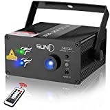 SUNY Laser Light Professional Music Laser Projector 40 Gobos Green Blue Laser Blue LED Projector Remote Control Sound Activated Stage Light Indoor Decorative Holiday DJ Disco Birthday Party Light Show
